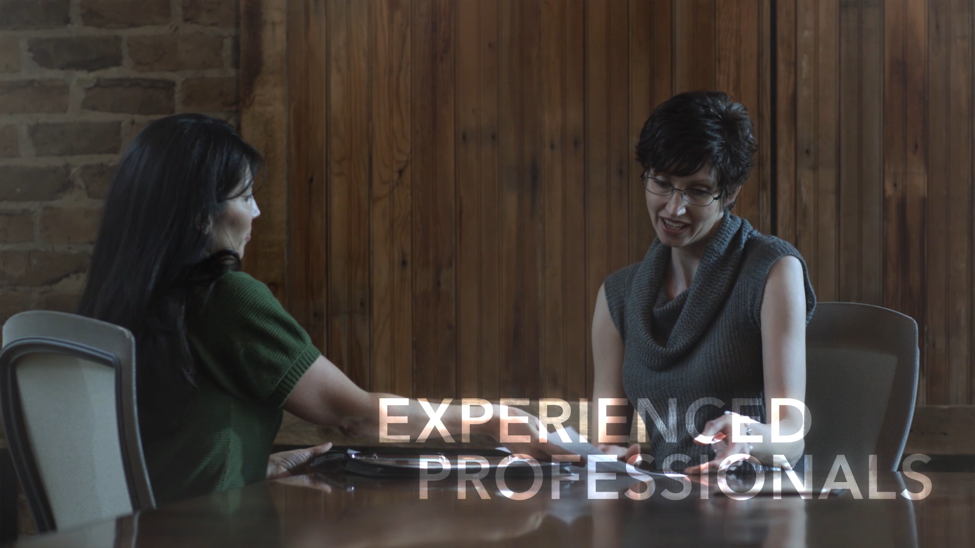 Interviewee and Interviewer with the caption: Experienced Professionals